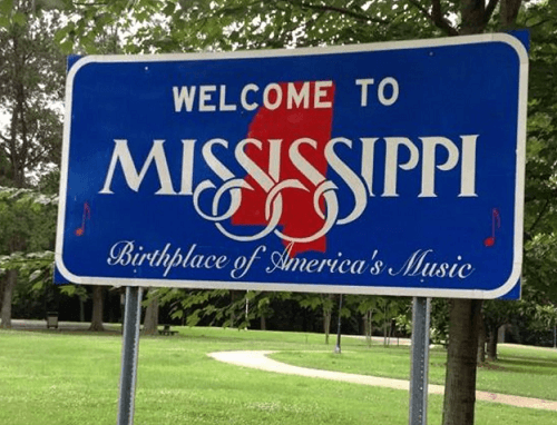 Mississippi welcome sign for Mississippi casinos