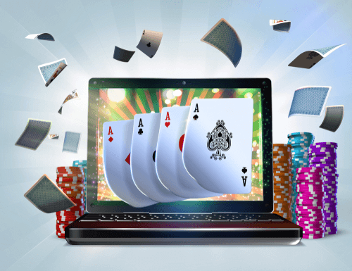 Illustration de jeux de poker vidéo en ligne d'ordinateur portable avec cartes et puces