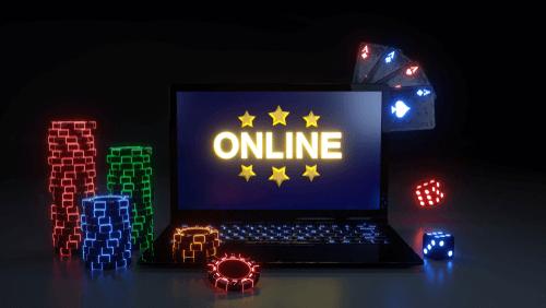 Illustration des Online-Casinos auf Laptop mit Chips
