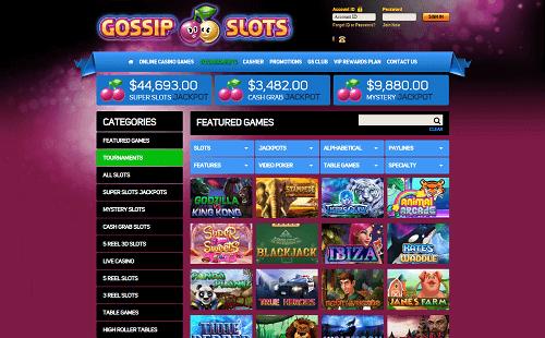 Gossip Slots Casino Lobby