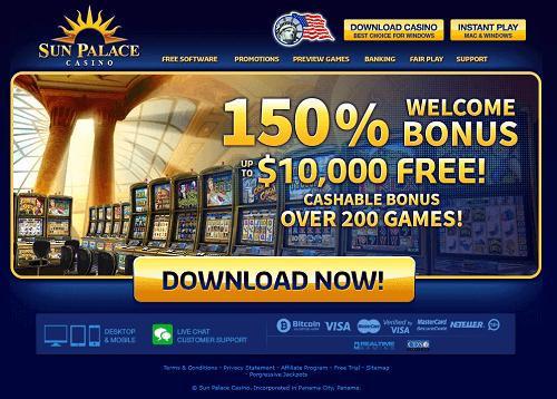Sun Palace Casino Homepage