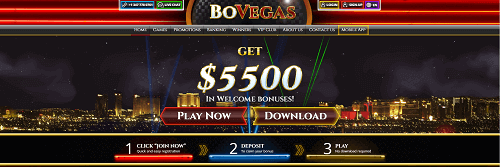 BoVegas online casino website homepage