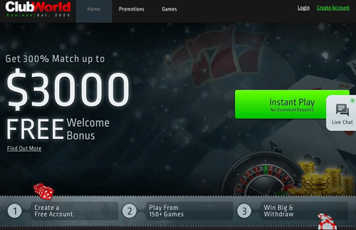 Club World casino bonus