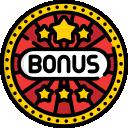 circular red black and yellow casino bonuses badge