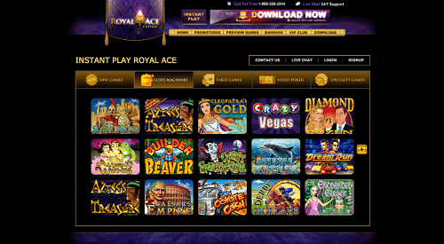 Play real money casino games at Royal Ace