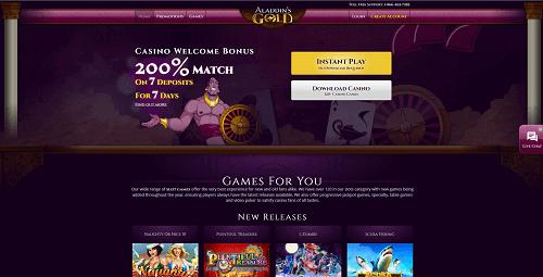 aladdins gold homepage