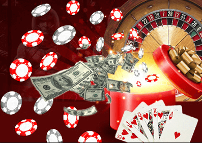 high roller chips, gambling chips and a roulette wheel