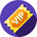 ticket in purple circle for vip bonuses