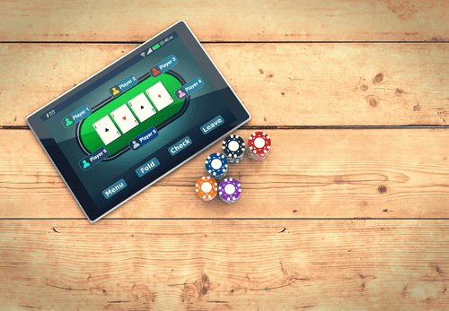 Photo of Tablet with Poker Game & Chips