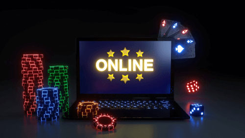 Illustration of Online Casino on Laptop with Chips