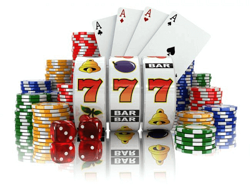 Top Online Casino Games Real Money - Illustration of Slot Reels, Playing Cards, Dice & Chips