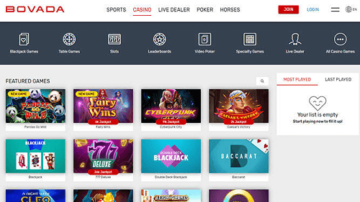 Bovada Casino Homepage