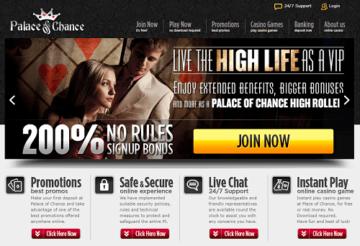 Palace of Chance Casino Homepage
