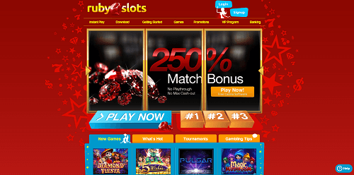 Ruby Slots Casino Lobby