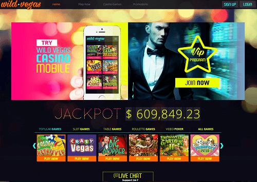 Wild Vegas Casino Homepage