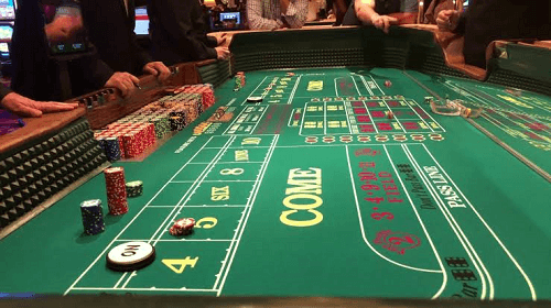 Craps Casino Table with Players